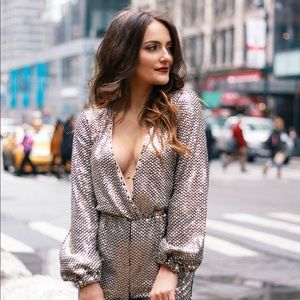 Silver sequin Tularosa jumpsuit from Revolve